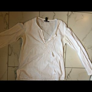 Lucky Brand White Embroidered Blouse